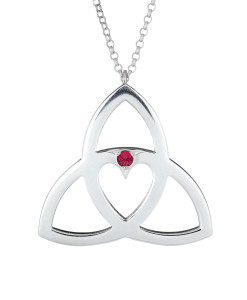 Celtic Heart Pendant with Ruby - Tracy Gilbert Designs