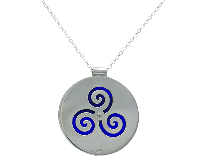 Growing Home pendant (blue) - back by Tracy Gilbert Designs