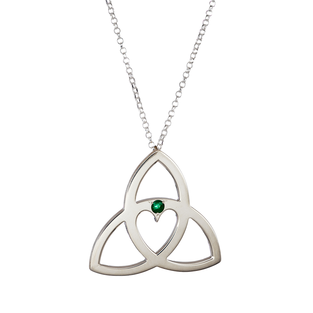 Celtic Heart Pendant - Emerald by Irish Jewellery Designer Tracy Gilbert Designs