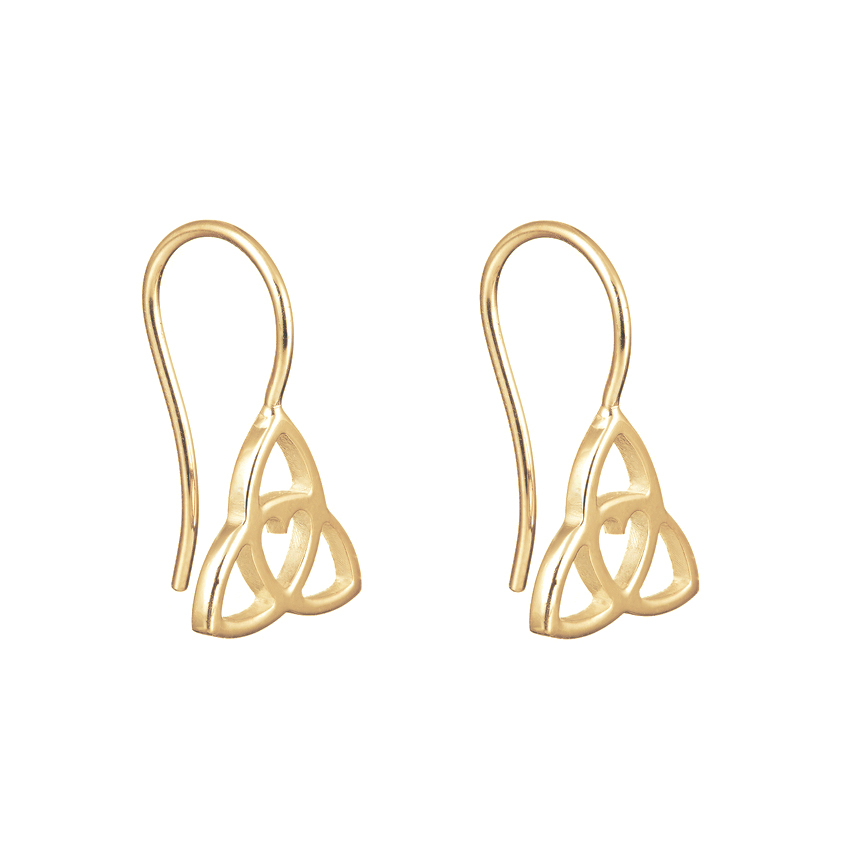 Celtic Heart Drop Earrings Gold - Tracy Gilbert Designs