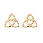 Celtic Heart Earrings - gold studs by Tracy Gilbert