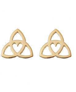 Celtic Heart Earrings - gold studs by Tracy Gilbert