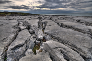 Karst limestone landscape of the Burren in Co. Clare