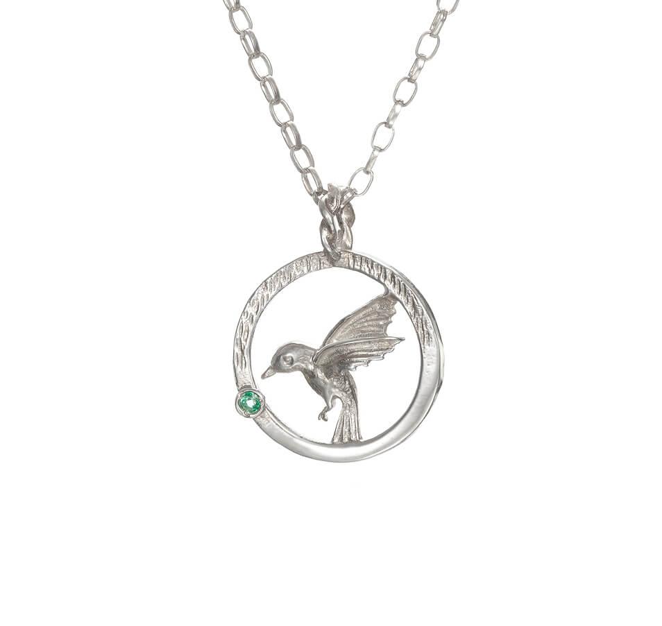 Hummingbird with emerald pendant tracy aloadofball Choice Image