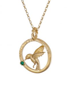 Hummingbird pendant gold with Emerald
