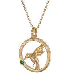 Hummingbird pendant gold with Emerald
